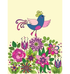 Decorative colorful funny bird on the flowers vector
