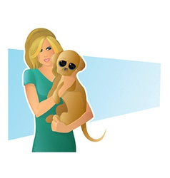 dog girl vector image