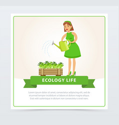 eco gardening concept with woman watering plants vector image