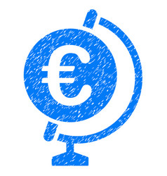 Euro globe icon grunge watermark vector