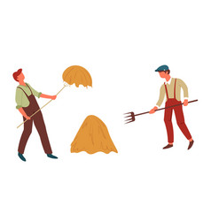 farmers field workers hay stack and men with forks vector image