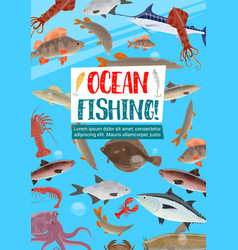 fishing sport poster with ocean fish vector image