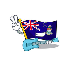 Flag cayman islands in character shape with guitar vector