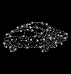 Flare mesh wire frame car traffic with flare spots vector