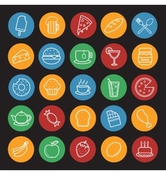 Food and drinks linear icons set Color vector