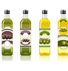 Four Olive Oil Bottles with Labels vector