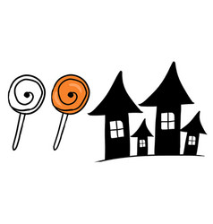 Funny hand drawn halloween witch house and candies vector