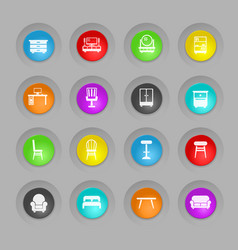 furniture colored plastic round buttons icon set vector image