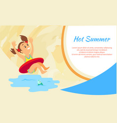 girl in lifebuoy hot summer vacation sea and vector image