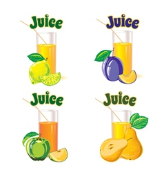 glasses for juice from lemon apple pear plum vector image