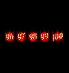gold numbers 96-100 vector image