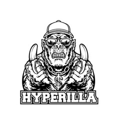 gorilla hype beast with bananas character vector image