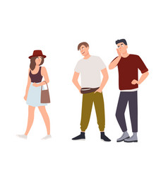 group of men whistling and staring at young woman vector image
