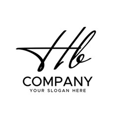H b initial letter handwriting logo hand l vector
