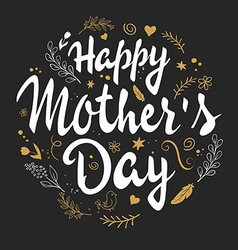 hand drawn mothers day lettering with branches vector image