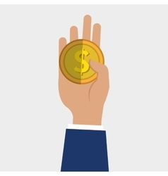 hand holding a money coin vector image