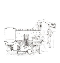 Hand sketch of an old building vector image