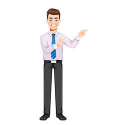 Handsome business man pointing on something vector