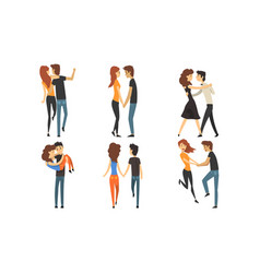 happy romantic loving couple collection young men vector image