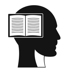 head with open book icon simple style vector image