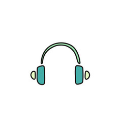 headphone doodle icon vector image
