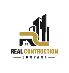 House logo building with letter r vector