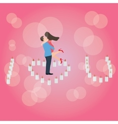 I love you heart shaped candle couple hug romantic vector image
