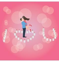 I love you heart shaped candle couple hug romantic vector