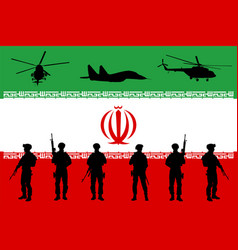 Iranian army soldiers unit over flag vector