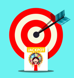 jackpot symbol with dart in target centre vector image