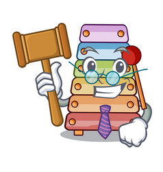 judge xylophone with character wooden on table vector image