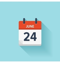 June 24 flat daily calendar icon Date vector image