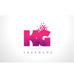 Kg k g letter logo with pink purple color and vector