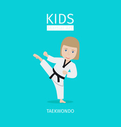 Kids martial art taekwondo girl vector