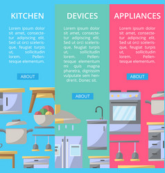 Kitchen devices and appliances flyers vector