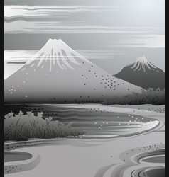 Landscape in japanese ink style vector