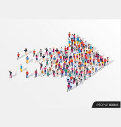 Large group people in shape an arrow vector