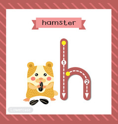 Letter h lowercase tracing hamster eating vector