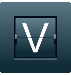 Letter V from mechanical scoreboard vector