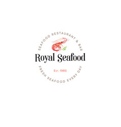 logo royal seafood red prawn watercolor vector image