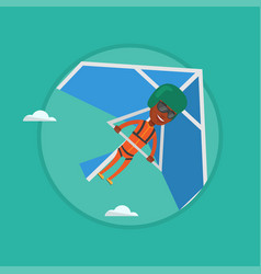 man flying on hang-glider vector image