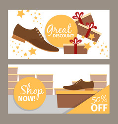 Men shoes horizontal banners for advertising vector