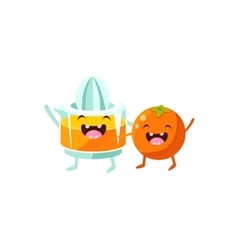 Orange And Juice Squeezer Cartoon Friends vector