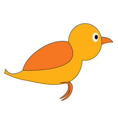 painting a cartoon yellow bird set isolated on vector image