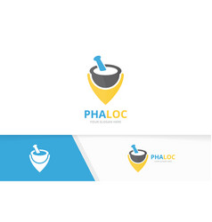 pharmacy and map pointer logo combination vector image