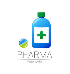 pharmacy symbol blue bottle with green vector image