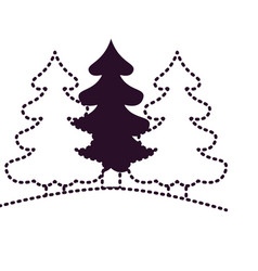 pine trees landscape on dotted monochrome vector image