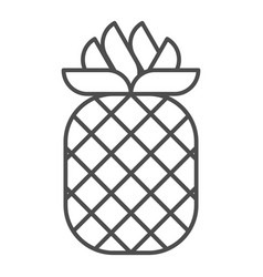Pineapple thin line icon tropical fruit vector