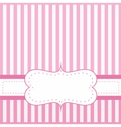 Pink card invitation with white stripes vector image