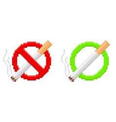 Pixel no smoking and smoking area signs vector